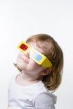 Criança nos vidros 3d Fotografia de Stock