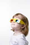 Criança nos vidros 3d Foto de Stock Royalty Free