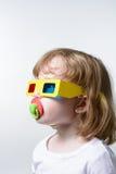 Criança nos vidros 3d Foto de Stock