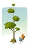 A criança olha como uma árvore cresce Imagens de Stock Royalty Free