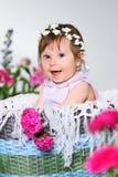 A criança pequena bonita senta-se com uma flor, fundo cinzento Foto de Stock Royalty Free