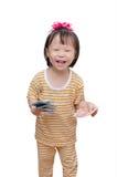 Criança pequena com dinheiro Fotos de Stock
