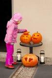A criança pequena considera a abóbora de Halloween. Fotos de Stock