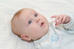 A criança pequena mostra uma palma Fotos de Stock