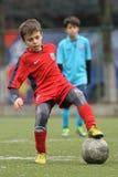 Criança pequena que joga o futebol ou o futebol Imagem de Stock Royalty Free