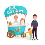 Criança perto dos desenhos animados do vendedor do gelado ilustração stock