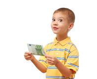 A criança prende o dinheiro Foto de Stock Royalty Free