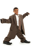Criança preta considerável do menino no terno de negócio flácido Imagens de Stock