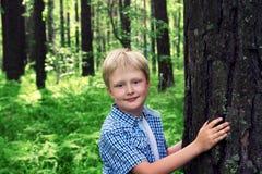 Criança que abraça a árvore Foto de Stock Royalty Free
