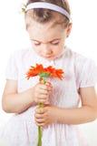 Criança que cheira uma flor Fotos de Stock Royalty Free
