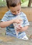 Criança que come a pipoca exterior Foto de Stock Royalty Free