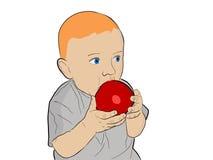 Criança que come uma maçã Fotos de Stock Royalty Free