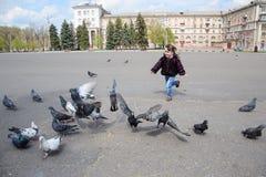 Criança que corre após pombos Fotos de Stock Royalty Free
