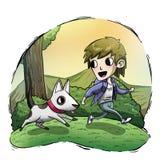 Criança que corre com cão Fotos de Stock