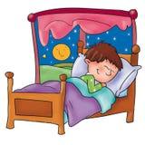 Criança que dorme em sua janela do quarto com lua e estrelas Imagem de Stock