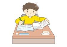 Criança que estuda a imagem do vetor ilustração do vetor