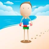 Criança que flutua com anel inflável na praia Fotos de Stock Royalty Free