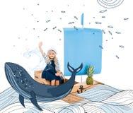 Criança que joga com barco ilustração royalty free