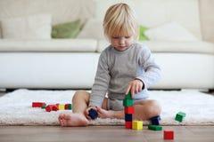 Criança que joga com blocos de madeira Foto de Stock Royalty Free