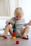 Criança que joga com blocos de madeira Imagem de Stock Royalty Free