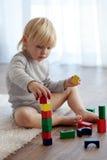 Criança que joga com blocos de madeira Imagens de Stock Royalty Free