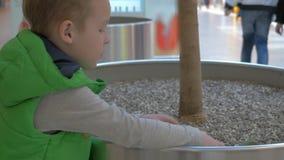 Criança que joga com o dinossauro do brinquedo no shopping filme