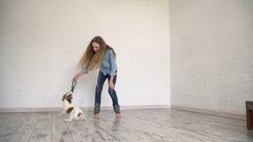 Criança que joga com seu cão em casa video estoque