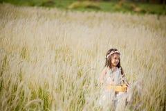 Criança que joga a guitarra ao prado exterior na natureza imagem de stock