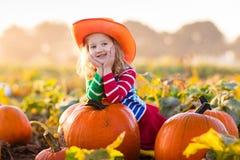 Criança que joga no remendo da abóbora Foto de Stock Royalty Free