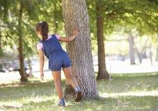 Criança que joga o esconde-esconde no parque imagens de stock