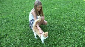 Criança que joga o gato no retrato de riso da menina do jardim com gatinho, animais de estimação animais da criança video estoque
