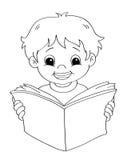 Criança que lê - BW ilustração royalty free