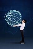 Criança que leva o globo 3d Foto de Stock