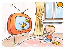 Criança que olha a tevê em sua sala ilustração stock