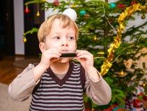 Criança que paga na harpa Fotografia de Stock Royalty Free
