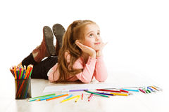 Criança que pensa, inspiração da escola da educação, sonho da menina da criança Fotografia de Stock Royalty Free