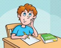 Criança que pensa que escrever Imagens de Stock