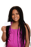 Criança que prende o cartão em branco Fotografia de Stock Royalty Free