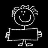 Criança que prende uma placa em branco ilustração royalty free