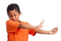 Criança que rejeita o alimento Fotografia de Stock Royalty Free