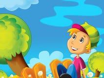 Criança que senta-se no prado - entre dentes-de-leão Imagens de Stock Royalty Free