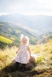 Criança que tem o divertimento em uma parte superior da montanha Imagem de Stock