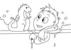 Criança que tem um bw do banho Fotografia de Stock Royalty Free