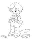 Criança que vai à escola - bw ilustração royalty free