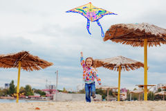 Criança que voa um papagaio Foto de Stock