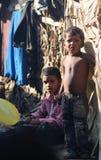 Criança suja com corações bonitos e sorriso doce Imagens de Stock