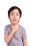 A criança tem o doente da garganta inflamada. Imagens de Stock Royalty Free