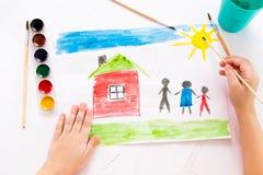 A criança tira na aquarela Imagens de Stock Royalty Free