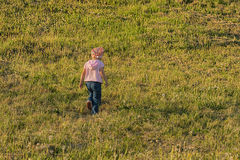 A criança vai através do prado Fotografia de Stock