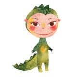 Criança vestida como um crocodilo ilustração royalty free